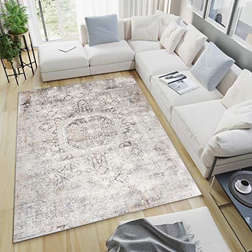 TAPISO Valley Teppich Kurzflor Vintage Ethno Hellgrau Ornamental Meliert Verwischt Used Effekt Wohnzimmer Schlafzimmer 140 x 200 cm