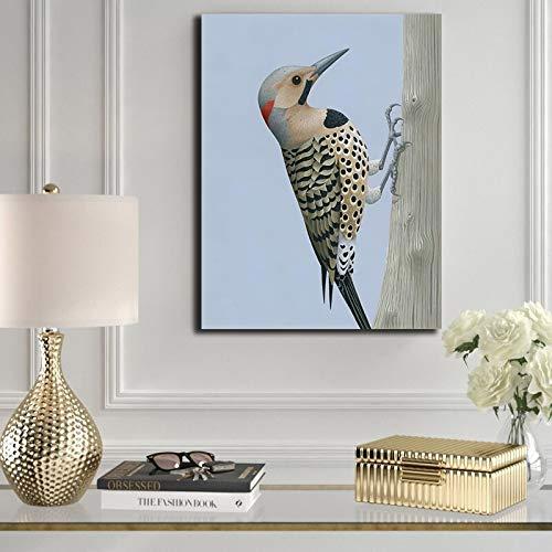 Specht dier linnen wand woonkamer print en poster decoratie muur kunstenaar decoratie frameloos schilderij