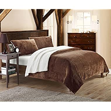 Chic Home Evie 2 Piece Blanket Set Soft Sherpa Lined Microplush Faux Mink with Sham, Twin XL Brown