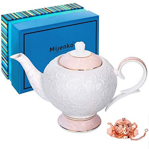 MIJENKO Teekanne aus feinem Porzellan, Pink mit weißer Prägung, inklusive 1 Tee-Ei in luxuriöser Geschenkbox