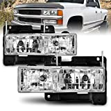 AmeriLite Replacement Clear Headlights Pair For Chevy Fullsize - Passenger and Driver Side