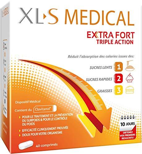 XL-S MEDICAL Extra Fort – Pour une aide à la Perte de Poids Efficace* – Réduit L'Absorption des Calories issues des sucres lents, sucres rapides et graisses – Boîte de 40 Comprimés
