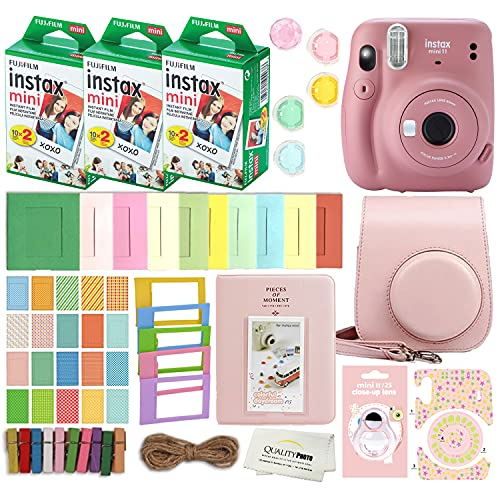 Fujifilm Instax Mini 11 Instant Camera with Case, 60 Fuji Films, Decoration Stickers, Frames, Photo Album and More Accessory kit (Dusty Pink)