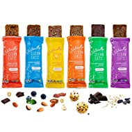 Vegan Protein Bars | Naturally Clean Eats Gluten-Free Snacks for Healthy Energy & Nutrition | Made with Prebiotics, No Added Sugar & All-Natural Ingredients | Variety 6 Pack