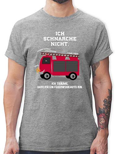 Comic Shirts - Ich schnarche Nicht. Ich träume DASS ich EIN Feuerwehrauto Bin - 3XL - Grau meliert - Herren Feuerwehr - L190 - Tshirt Herren und Männer T-Shirts