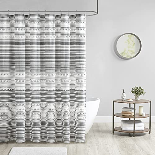 Urban Habitat Calum Duschvorhang aus Jacquard-Poms, maschinenwaschbar, traditionelles Badezimmer-Dekor, Badewannensichtschutz, 70 x 72 cm, grau