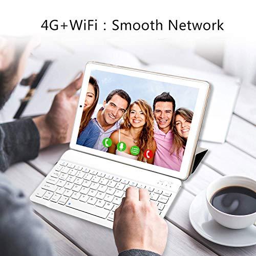 YOTOPT Tablet 10 Zoll mit Tastatur und Maus, Android 9.0, 4G Dual SIM, 64GB, 4GB RAM, Wi-Fi/Bluetooth/GPS, Type-C, Gold