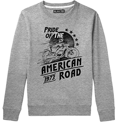 BLAK TEE Unisex Pride of The American Road Cafe Style Racer Sweat-Shirt L