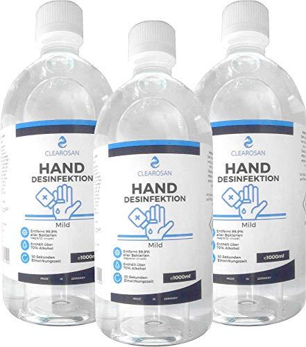 3x Clearosan Hand Desinfektionsmittel 1000ml Flasche entfernt 99,9% >70% Alkohol Händedesinfektionsmittel Made in Germany