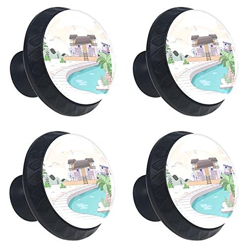 Tiradores para Muebles Niños Casa en la playa Pomo para muebles cristal Pomos y Tiradores impresión Manija del cajón Para Habitación Infantil 4 piezas 3.5×2.8CM