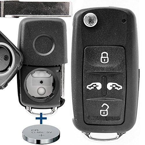 Auto Schlüssel Funk Fernbedienung 1x Gehäuse 4 Tasten + 1x Rohling + 1x CR2032 Batterie für VW/SEAT