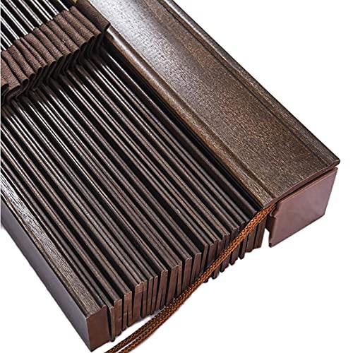 ZLI Persianas 65-145cm de Ancho Parasoles Ciegos de Madera, Cortina Opaca Horizontal Marrón Moca - Estilo Clásico Café/Casa de Té/Oficina, Listón de 50mm (Size : 145cm×205cm/57.1in×80.7in)