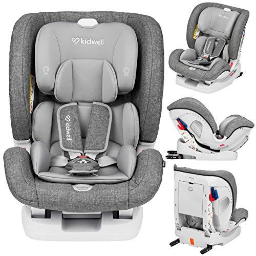 KIDWELL Autositz 0-36 kg | 0-12 Jahren | Gruppe 0+ / 1/2 / 3 | Kindersitz mit 5-Punkt-Gurtsystem & Isofix ECE R44/04 | verstellbare Kopfstütze und Rückenlehne | stabil & sicher | Grau