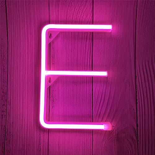 ENUOLI Luces LED de neón con Letras, Rosa, Letrero de neón, luz de marquesina, Letrero de neón, batería/USB, Letras iluminadas, luz Nocturna de neón para habitación de niños, Bodas, Navidad(E)