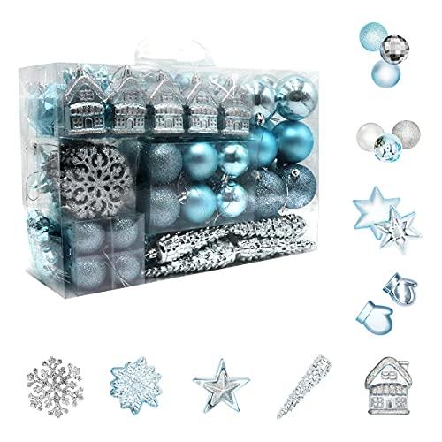 Juego de 113 bolas de Navidad de plástico azul y plateado, decoración para el árbol de Navidad, en diferentes tamaños y diseños, azul y plateado