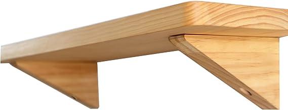 Massief houten wandplanken, met 2 houten driehoekige beugel, dennenhout, wandgemonteerde drijvende plank, woonkamer/slaapk...