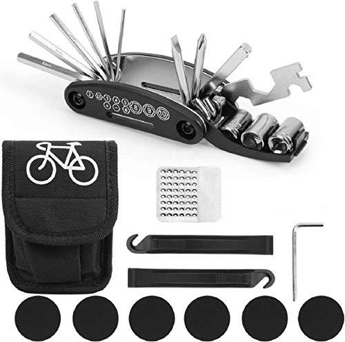 SunAurora 16 en 1 Herramienta de Reparación Multifunción para Bicicleta, Portátil Kit de Herramientas para Bicicleta con Kit de Parche y Palancas