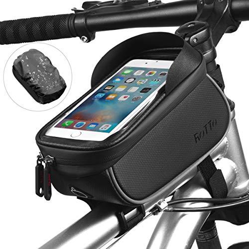 ROTTO Fahrrad Rahmentasche Oberrohrtasche Handytasche Handyhalterung Wasserdicht mit Regenschutz (Schwarz v2)