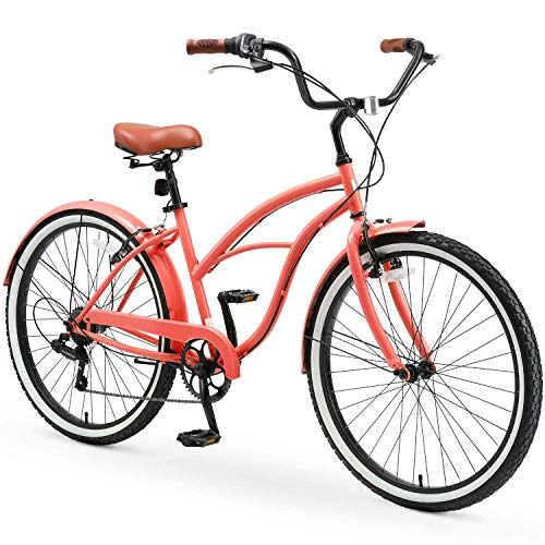 """sixthreezero Around The Block Casual Edition Women's 7-Speed Beach Cruiser Bike, 26"""" Bicycle, Coral with Brown Seat and Brown Grips"""
