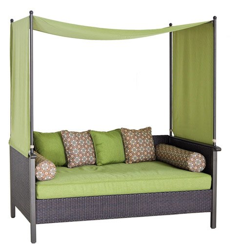 Outdoor Day Bed, Green. Relax & Enjoy This Wicker Daybed. This Wicker Outdoor Daybed Features Powder-coated Steel & All Weather Wicker. Cushions Are Uv Protected Along w/ 4 Decorative Accent Toss Pillows & 2 Lumbar Pillows. This Patio Daybed Is Style.