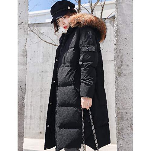 RCFRGV Daunenjacke Frauen Fashion Big Echtpelz Mit Kapuze Echt Daunenparkas Mantel Weibliche Winter Länger Plus Größe Lose Stil Warm