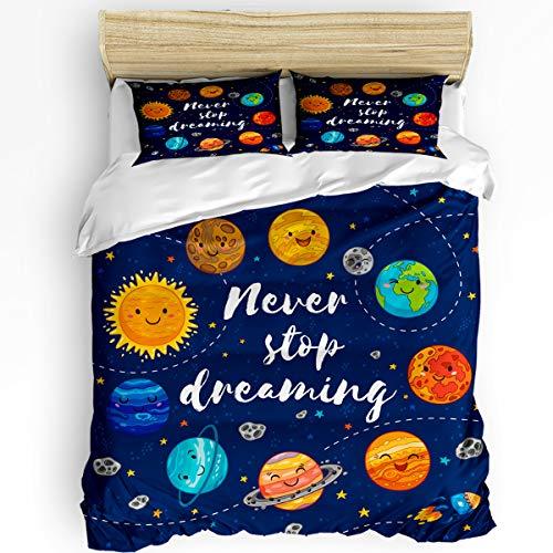 Breathable 3pcs Bedding Set Duvet Cover Sets,Twin Size Elegant-Soft Comforter Sets with Zipper Closure&Corner Ties for Adult Kids,Cartoon Colorful Planet Universe 1 Quilt Cover,2 Pillow Shams Set