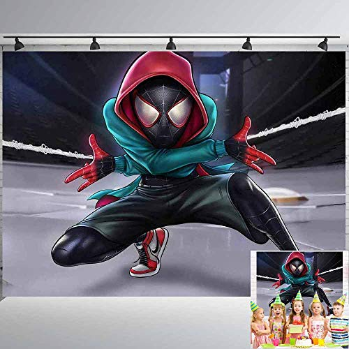 Miles Morales Spiderman Backdrop Boys Birthday Party Supplies Ultimate Photography Backdrops Banner Decorations Children Photo Booth Studio Props Background Superhero Cityscape Dessert Table