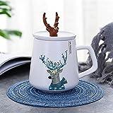 ZZLLFF Tazas de cerámica de la Forma de Estilo Creativo con la Cubierta Pareja Tazas Tazas de café Oficina (Capacity : 401 500ml, Color : Scarf Moose)