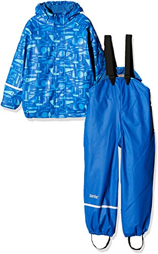 CareTec Kinder wasserdichte Regenlatzhose und -jacke im Set (verschiedene Farben), Blau (Dunkel Blau 773), 86