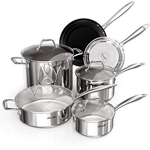 Ciwete 18/10 Stainless Steel Cookware Set 10-Piece, Kitchen Induction Pots and Pans Set with Tempered Glass Lids, 3-Ply Base