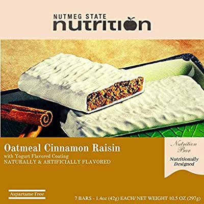Nutmeg State Nutrition High Protein Snack Bar / Diet Bars - Oatmeal Cinnamon Raisin (7ct) - Trans Fat Free, Aspartame Free, Kosher, Gelatin Free