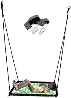 Hi Suyi Large Square Porch or Tree Rope Swing Spider Web Rider with Hanging Hooks and Strap for Adult or Multiple Kids Outdoor Backyard