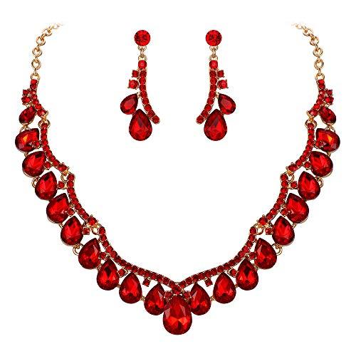 Clearine Juegos de Joyas de Mujer Forma Onda Lágrimas Encaje Flores Cristales Collar y Pendientes para Novia Boda Fiesta Rojo