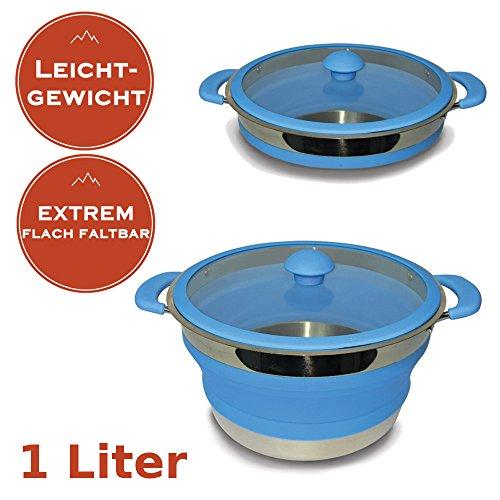 Faltbarer Leichtgewichtstopf 1 Liter - Camping Kochtopf aus Metall und Silikon - MINIMALES Packmaß + MINIMALES Gewicht - spülmaschinenfest