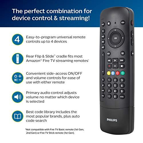 Philips Universal Companion Remote Control for Samsung, Vizio, LG, Sony, Roku, Apple TV, RCA, Panasonic, Smart TVs, Streaming Players, Blu-ray, DVD, 4 Device, Flip