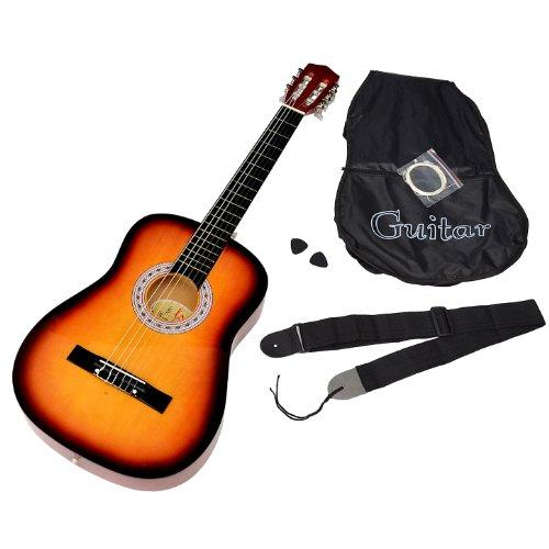 Akustik Gitarre Klassikgitarre Konzertgitarre in SUNBURST mit Tasche, Saiten, Plektrum und Gurt