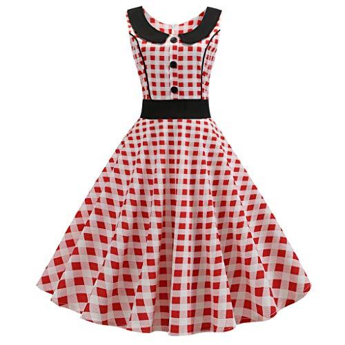 Damen Vintage Sommerkleid Retro Cocktailkleid Rockabilly UmlegekragenFaltenrock Kurzarm Swing...