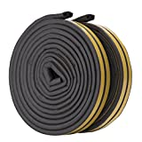 Rubber Seal Weather Strip Foam Tape, Feelava D Type 10 m Doors Windows Draught Excluder Seal Strips Anti-Collision Self-Adhesive Weatherstrip Water-proofing Sound-proofing - 2 Roll/Total 10m (Black)