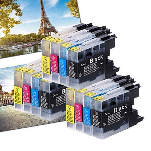 Karl Aiken 12X - Cartuchos de tinta compatibles con Brother LC1240 LC1220 LC400 LC75 LC73 LC71 LC40 LC12 para impresoras Brother LC1100BK LC980BK para impresoras Brother MFC-J6910CDW J6710CDW