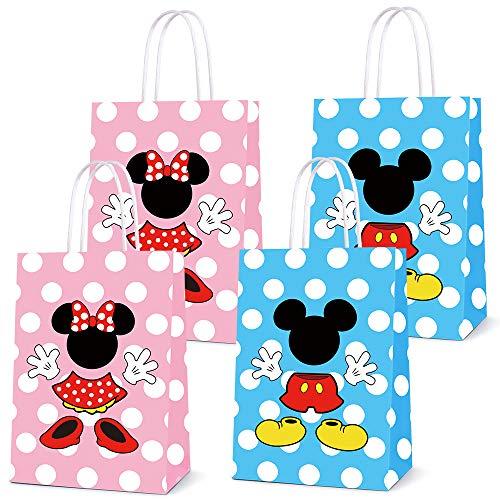 Bolsas de recuerdo para fiesta de Mickey Minnie y cumpleaños, fiestas, regalos para dulces de Mickey Minne, decoración para fiestas temáticas de cumpleaños, 16 unidades