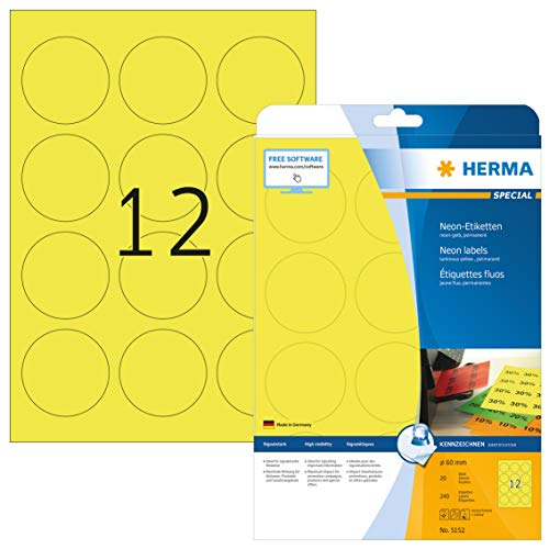 HERMA 5152 Neon-Etiketten DIN A4 (Ø 60 mm, 20 Blatt, Papier, matt, rund) selbstklebend, bedruckbar, permanent haftende Farbetiketten, 240 Klebeetiketten, neon-gelb