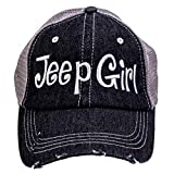 BHW Jp Girl Embroidered Trucker Style Cap Hat Grey Grey White