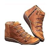 99AMZ Botines de Cuero Otoño Invierno Vintage con Cordones Zapatos de Mujer Botas Cómodas de Tacón Plano Cremallera Botas Corta Impermeables Zapatos para Mujer Botas Piel Zapatos (37 EU, Marrón)