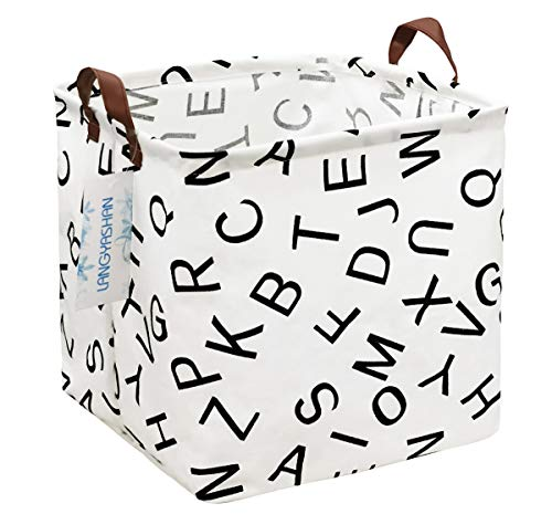 Square Storage Bins Waterproof Canvas Kids Laundry/Nursery Boxes for Shelves/Gift Baskets/Toy Organizer/Baby Room Decor(Square alphabet)