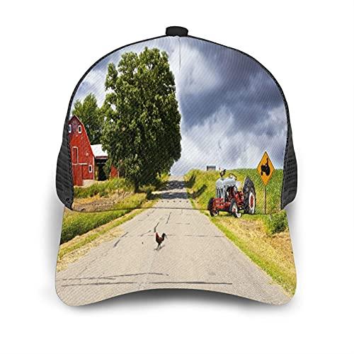 Gorra de Beisbol Espalda de Malla Senderismo al Aire Libre Sombrero Deportivo,Decoración rural, cortijo en la carretera con granero y tractor en el l,Gorra de Sol de Enfriamiento para Hombres Mujeres