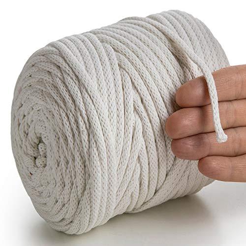 MeriWoolArt Makramee Kordel 6 mm x 100 m Baumwollkordel, recyceltes weiches Baumwollgarn für das Stricken von Pflanzenhängern, Schmuckherstellung, Häkeltaschen (Natürliche Farbe, 6mm - 100 Meter)