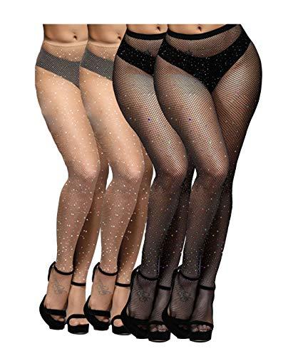 Yulaixuan Medias de diamantes para mujer medias de rejilla medias de malla ver a través de mallas de red paquete de 4 (2 negros y 2 desnudos, Diamante blanco)
