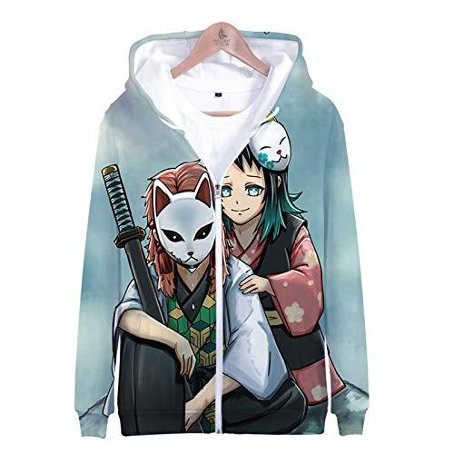 PLMNK Ghost Blade 3D Dibujos Animados animación Cremallera suéter con Capucha cómodo Sudor Transpirable suéter Casual XS