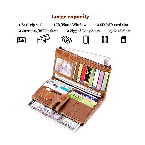 ROULENS Wallet for Women Genuine Leather Card Holder Phone Checkbook Organizer Zipper Coin Purse 2