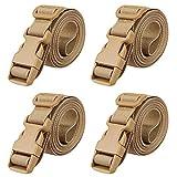 MAGARROW 78' x 1' Strap Buckle Packing Straps Adjustable 1-Inch Belt (Khaki (4-PCS))